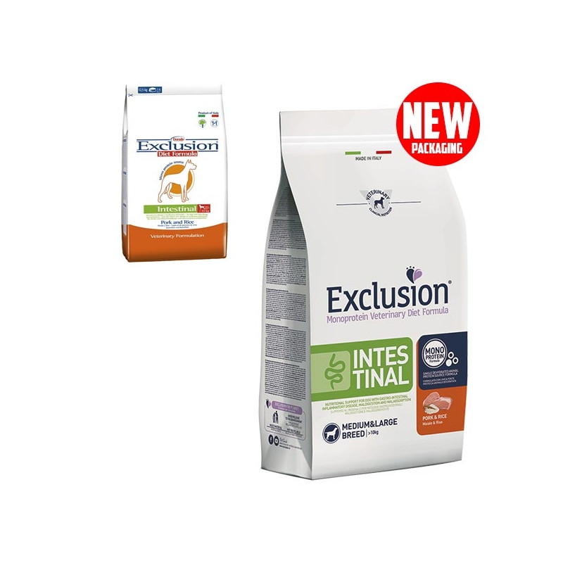 EXCLUSION Diet Intestinal Medium/Large Breed Maiale e Riso 12 kg. -