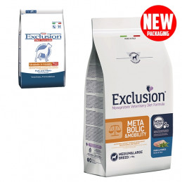 EXCLUSION Diet Metabolic & Mobility Medium/Large Breed con Maiale e Fibre 12 kg. -