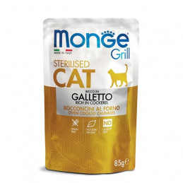MONGE Grill Adult Sterilised Bocconcini in Jelly Ricco in Galletto 85 gr. -