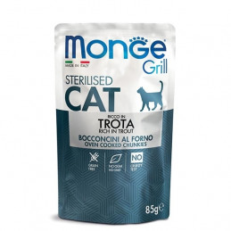 MONGE Grill Adult Sterilised Bocconcini in Jelly Ricco in Trota 85 gr. -