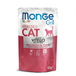 MONGE Grill Adult Sterilised Bocconcini in Jelly Ricco in Vitello 85 gr. -