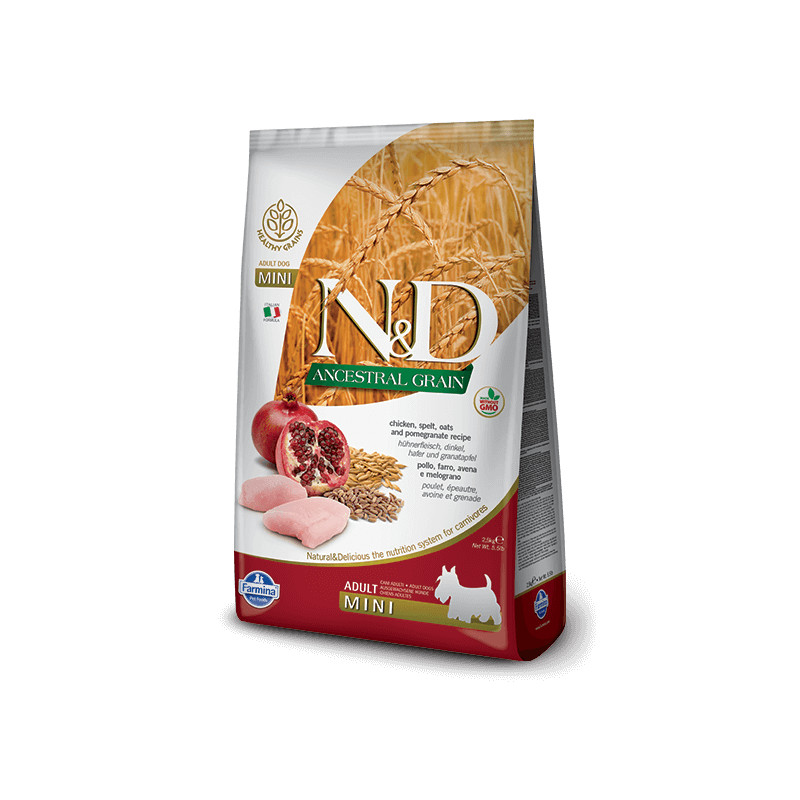 Farmina n&d low grain cane mini farro avena pollo e melograno 2,5 kg -