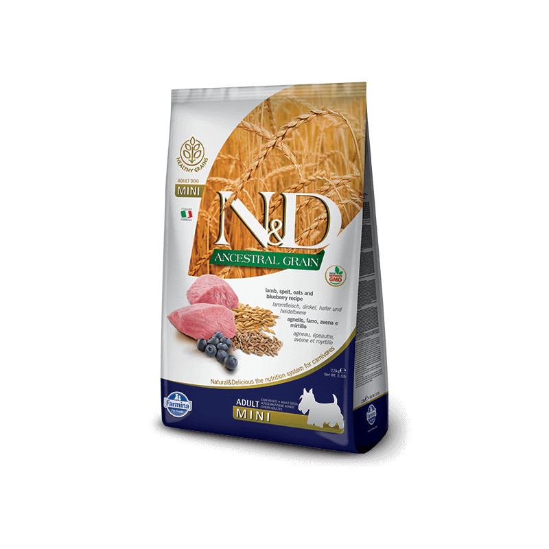 Farmina n&d low grain cane mini farro avena agnello mirtillo 2,5 kg -