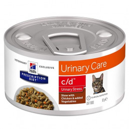 Hill's Pet Nutrition - Prescription Diet Stew c/d Urinary Care Urinary Stress con Pollo e Verdure 82 Gr. -