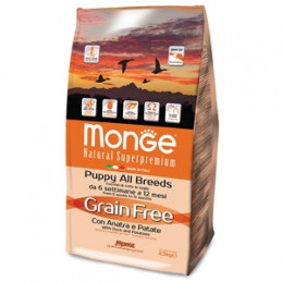 Monge - Cane Natural Superpremium Grain Free con Anatra e Patate - All Breeds Puppy 2.5 kg -