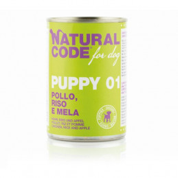 NATURAL CODE - For Dog Puppy 01 Pollo,Riso e Mela 400 gr. -