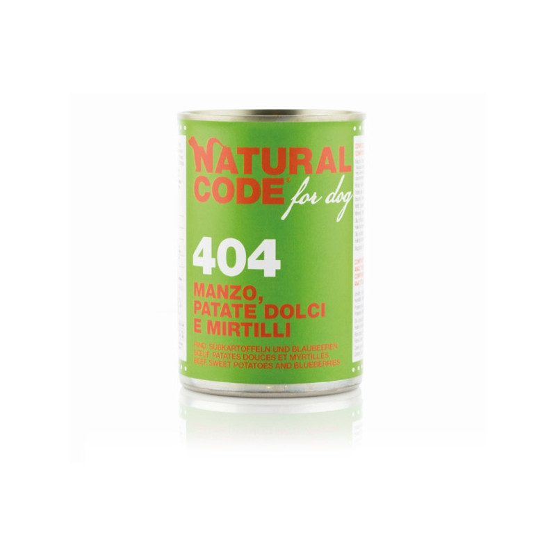 NATURAL CODE - For Dog 404 Manzo,Patate dolci e Mirtilli 400 gr. -