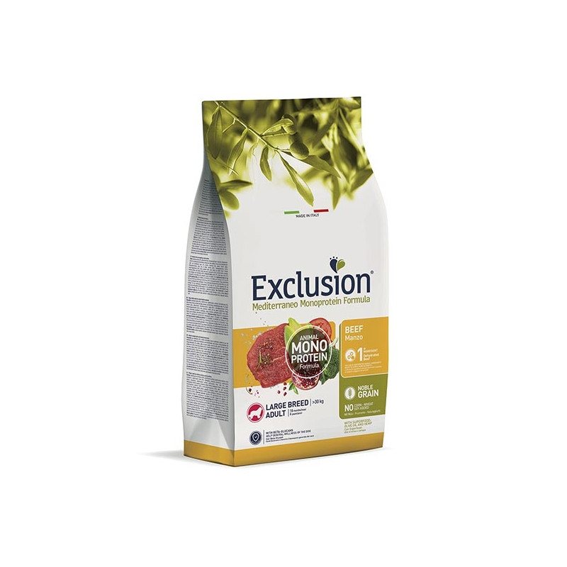 EXCLUSION Mediterraneo Monoprotein Adult Large Breed con Manzo 12 kg. -