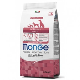 MONGE Natural Superpremium All Breeds Adult Monoprotein Manzo con Riso 2,5 kg. -