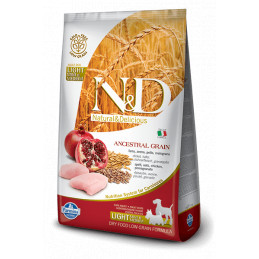 Farmina n&d low grain cane light mini medio farro avena pollo e melograno 2,5 kg -