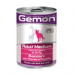 GEMON Adult Medium Bocconi con Manzo e Fegato 415 gr. -